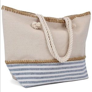 Large tote bag with rope handles
